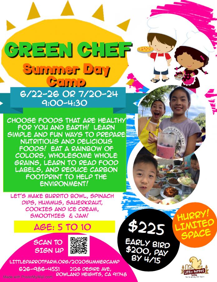 2020 Summer Camp - Green Chef 綠色小廚師暑期夏令營
